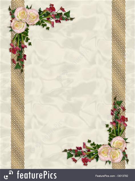 pink roses exotic floral border vertical illustration