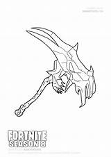 Fortnite Coloring Drawings Season Pickaxe Skull Axes Demon Draw sketch template