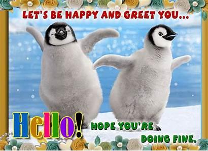 Penguins Hello Hi Greeting Ecard Greetings Card