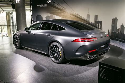 Mercedes outfits it with a lot of standard features, as it should at these prices, and offers a lot options to make it more comfortable and improve performance. 2019 Mercedes AMG GT 63 S 4 Door Coupe rear three quarter - MotorTrend