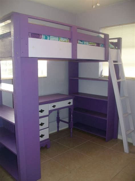 diy loft bed plans   desk  purple loft bed