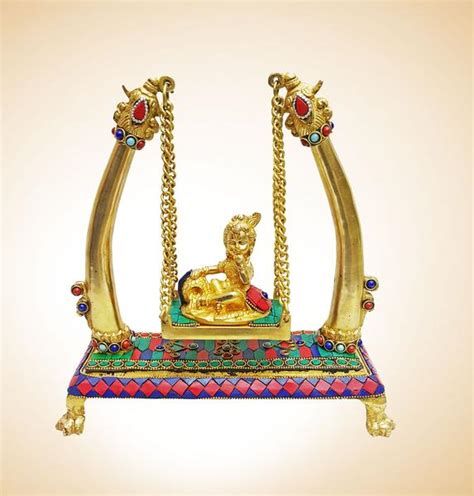 brass lord krishna idol  jhula set devotionalstore