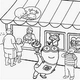 Coloring Minion Pages Ice Cream Printable Summer Drawing Party Clipart Activities Shopping Eye Seaside Eyed Colouring Kindergarten Costume Shops Craft sketch template