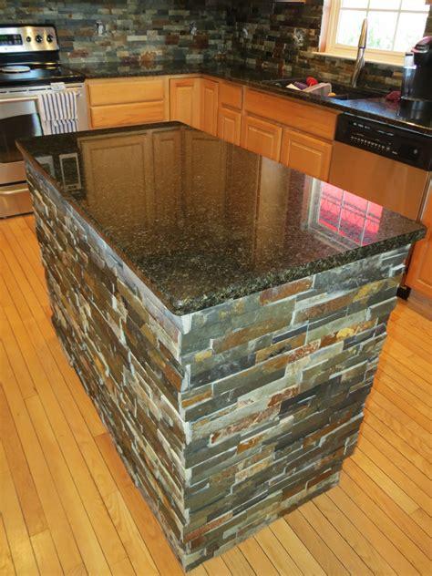 finished kitchen island  granite  slate tile