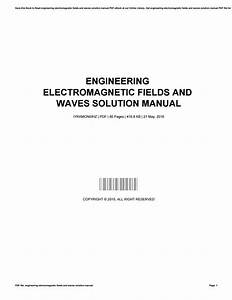 Engineering Electromagnetic Fields And Waves Solution