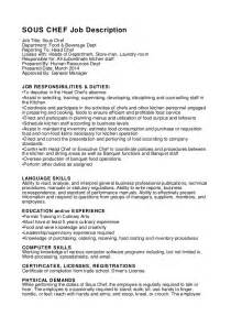 chef duties resume sous chef description
