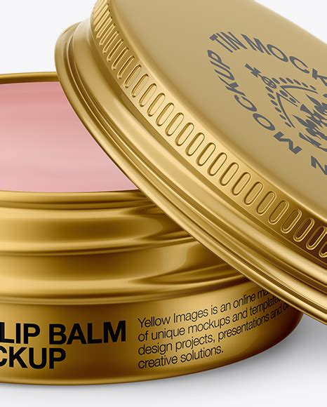 Free modern packaging ice cream jar mockup. Opened Metallic Lip Balm Tin Mockup - Front View (High ...