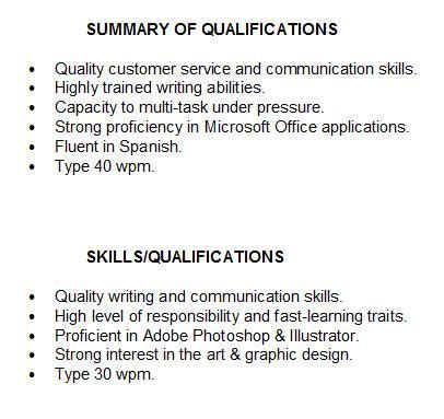 resume summary of qualifications summary of qualifications for students