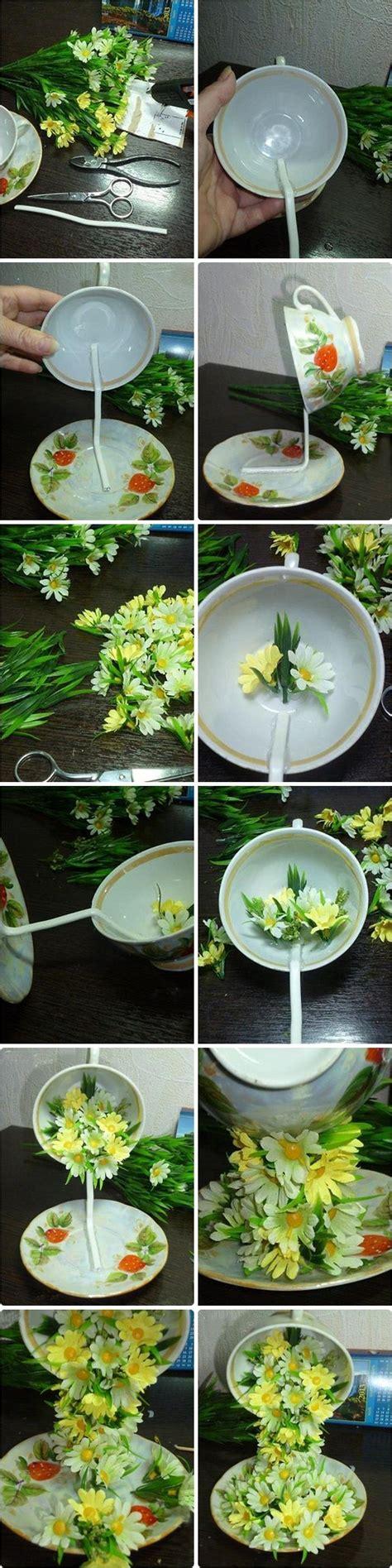 tea cup floral cascade step  step tutorial