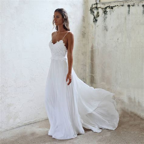 Beautiful Wedding Dressesa Line Lace Spaghetti Straps
