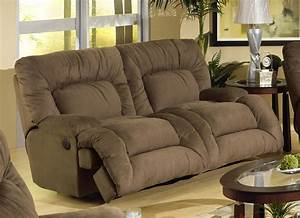 Jackpot power reclining chaise sofa in coffee microfiber for Whitten 2 piece sectional sofa