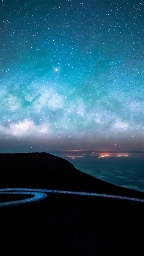 night road  starry sky  wallpaper