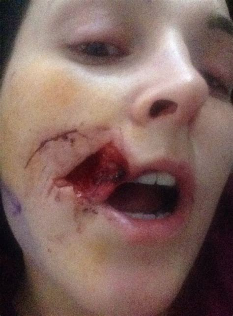 house party horror woman  face bitten   vicious