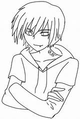 Demon Template Coloring Boy Printable Lineart Sketch Chibi sketch template