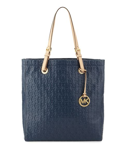 michael  michael kors jet set monogram tote bag  blue