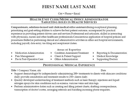 Unit Clerk Resume Cover Letters by Health Unit Clerk Resume Template Premium Resume Sles Exle