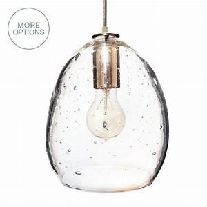 Hand blown modern orb glass egg seeded pendant light