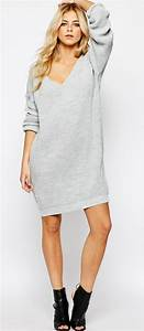 robe pull grise col en v boohoo With robe pull col v