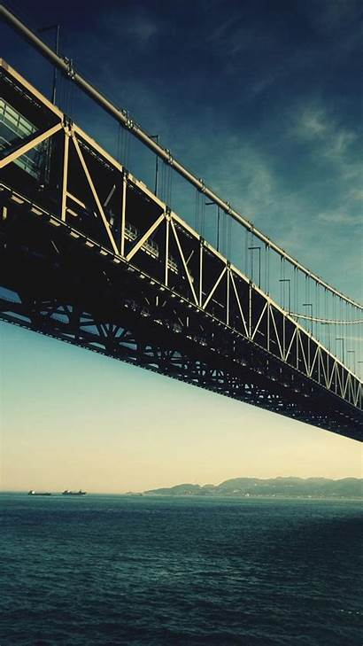 Architecture Bridge Iphone Android Steel Water Wallpapers