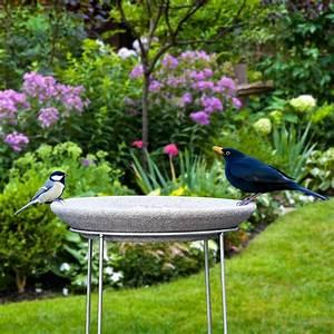 Abreuvoir A Oiseaux Pour Jardin : abreuvoir oiseaux granicium avec support en acier inox ~ Melissatoandfro.com Idées de Décoration