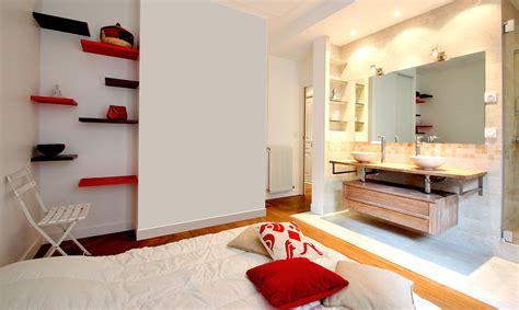 chambre ouverte sur salle de bain am 233 nagement salle de bain ouverte vasque bois creus 233 et