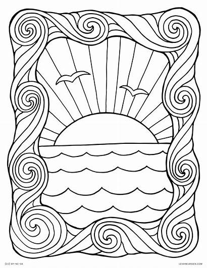 Coloring Waves Pages Sunset Water Wave Ocean