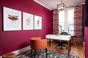 Home Office With Modern Curtains And Deep Pink Wall Colors