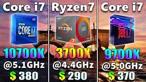 Core I7 10700k  5 1ghz Vs Ryzen 7 3700x  4 4ghz Vs Core I7