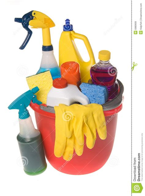 Bucket Of Cleaning Supplies Stock Image - Image of dust