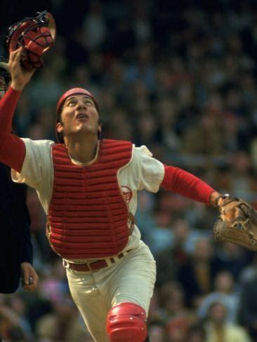 Johnny Bench Cincinnati Reds by Cincinnati Reds Catcher Johnny Bench Catching Pop Fly