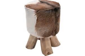 tabouret marron bois et fourrure mountain petit tabouret pas cher