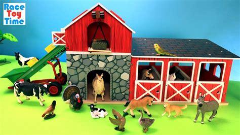 Farm Barn Stable Playset With Schleich Fun Animals Toys