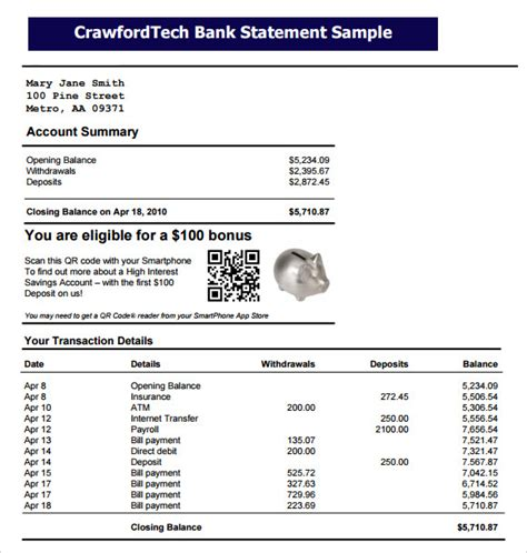 bank statement   samples examples format