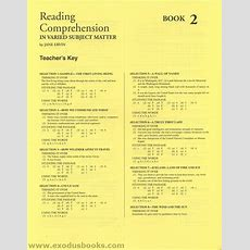 Reading Comprehension In Varied Subject Matter Book 2  Answer Key  Exodus Books