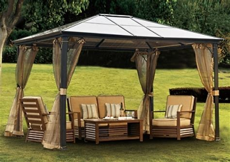 10 12 outdoor hardtop polycarbonate roof patio gazebo w netting metal frame