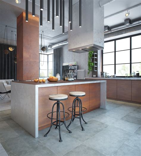 interior design an industrial home with warm hues Industrial