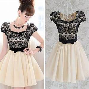 Vintage Lace Patchwork Cute Puffy Pleated Fancy Party ...