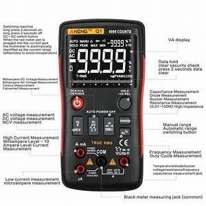 Aneng Q1 9999 Counts True Rms Digital Multimeter Ac Dc