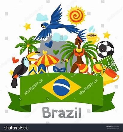Brazil Symbols Cultural Objects Background Clipart Brasil