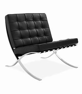 Fauteuil Mies Van Der Rohe : peau de r plica noir chaise barcelone inspir par ludwig mies van der rohe centrolandia ~ Melissatoandfro.com Idées de Décoration