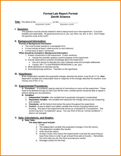 lab report template 9 layout of lab report ledger paper