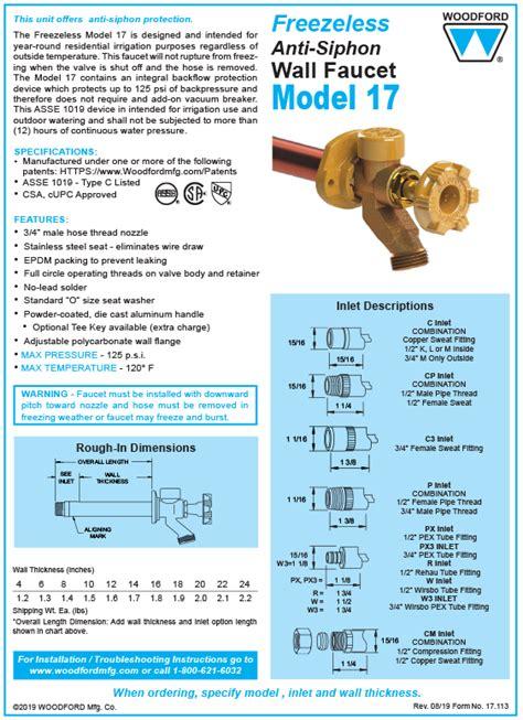 woodford model  freezeless faucet
