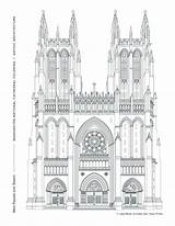 Architecture Gothic Cathedral Coloring Window West Facade Towers Washington National Pointed Prominent Honors Arches Tradition Western Grand Rose Week sketch template