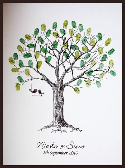 fingerprint tree large personalised wedding fingerprint thumbprint tree alternative guest book ebay