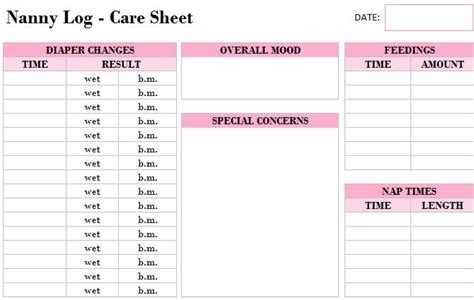 printable nanny log template  excel templates