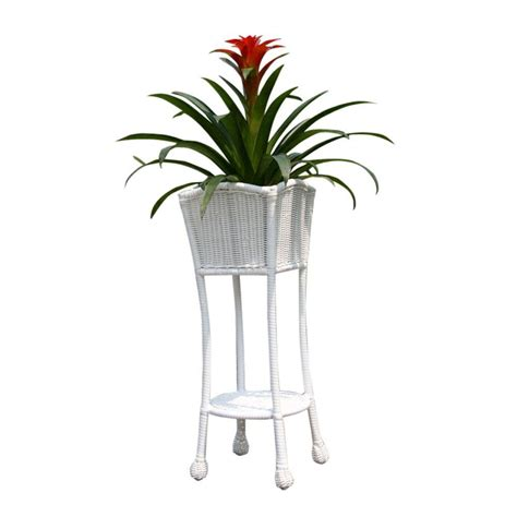 jeco resin white wicker patio furniture planter stand