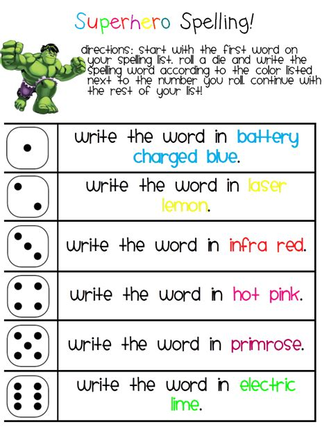 the teaching bug daily word work spelling words