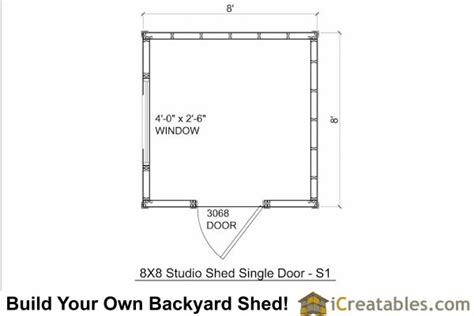 Shed Floor Plans 8x8 by 8x8 Modern Shed Plans Center Door