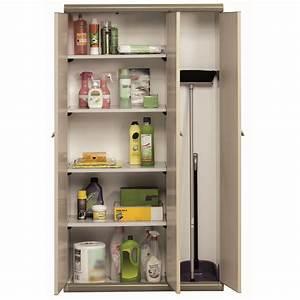 Armoire Range Balai : armoire haute en r sine 3 portes avec compartiment range balai beige ebay ~ Melissatoandfro.com Idées de Décoration