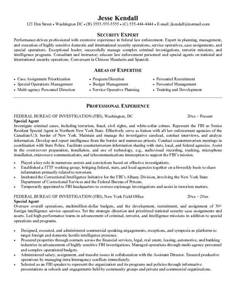 Fbi Resume Template by Fbi Special Resume Resume Ideas